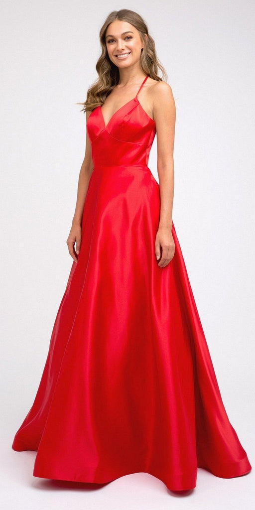 Stylish Back Long Prom Dress Red with Pockets
