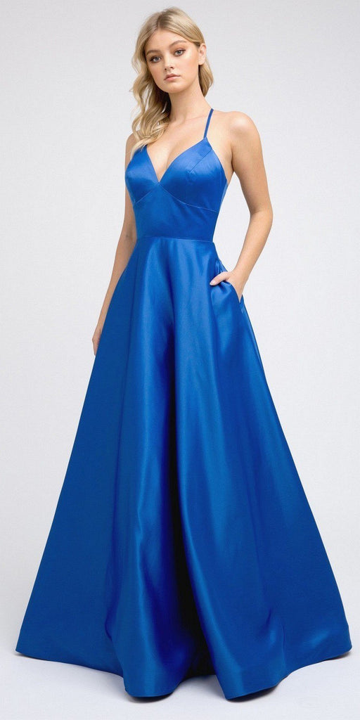 Stylish Back Long Prom Dress Royal Blue  with Pockets