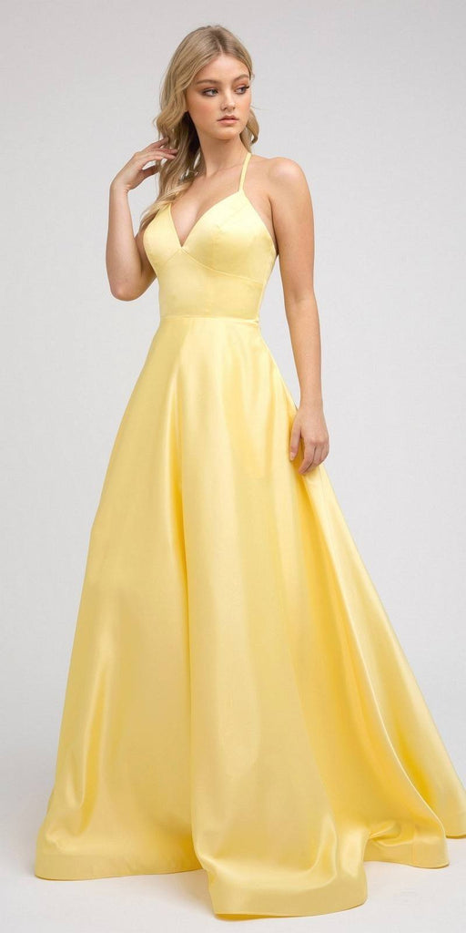 Stylish Back Long Prom Dress Yellow  with Pockets