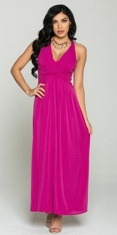 V-Neck Long Semi Formal Dress Empire Waist Magenta