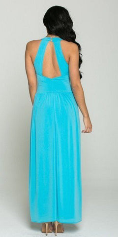 V-Neck Long Semi Formal Dress Empire Waist Turquoise