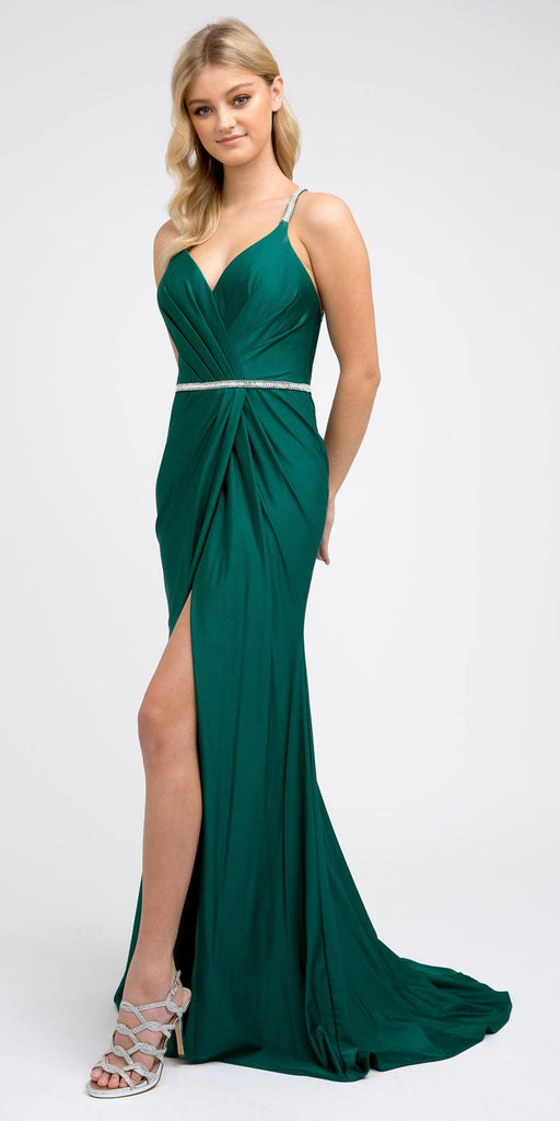 Green Long Prom Dress with Strappy-Back and Train