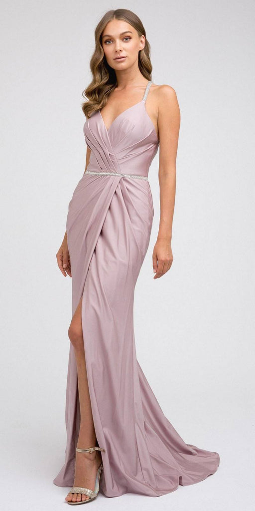 Mauve Long Prom Dress with Strappy-Back and Train