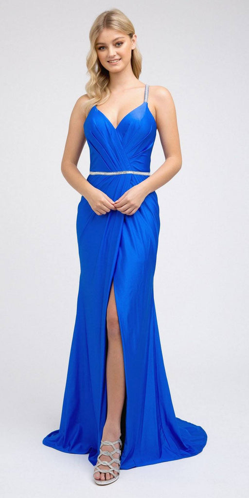 Royal Blue Long Prom Dress with Strappy-Back and Train