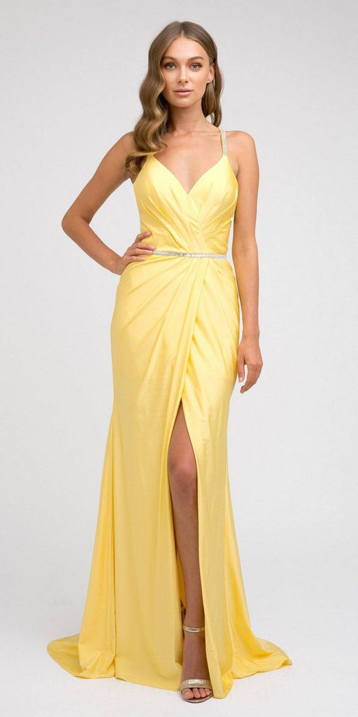 Yellow Long Prom Dress with Strappy-Back and Train