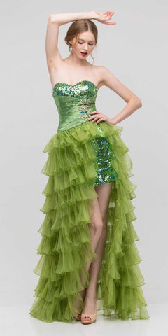 Long Ruffled Skirt Thigh Slit Strapless Green Prom Dress