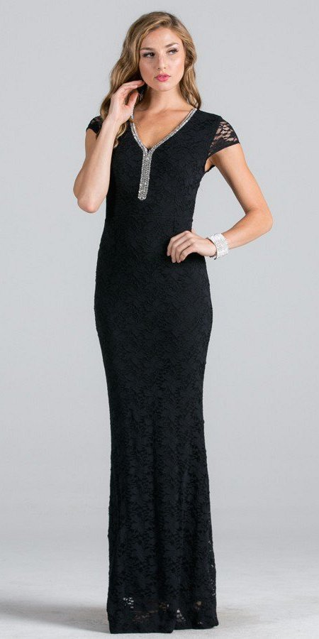 Black Short Sleeves Long Fitted Formal Dress Cut Out Back