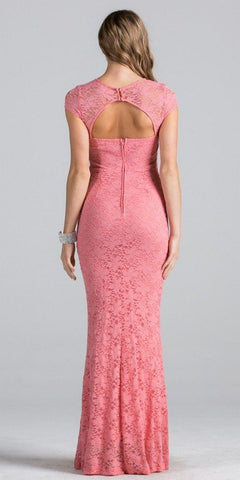 Coral Short Sleeves Long Fitted Formal Dress Cut Out Back