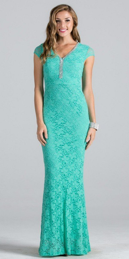 Mint Short Sleeves Long Fitted Formal Dress Cut Out Back