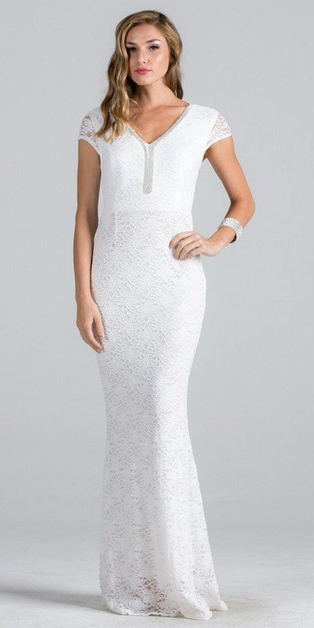Off White Short Sleeves Long Fitted Formal Dress Cut Out Back