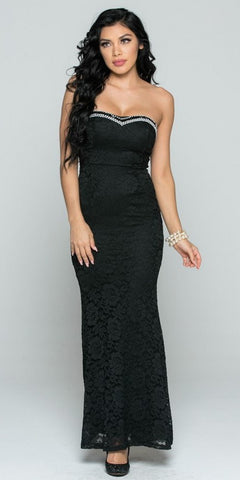 Black Beaded Strapless Long Fitted Formal Lace Dress