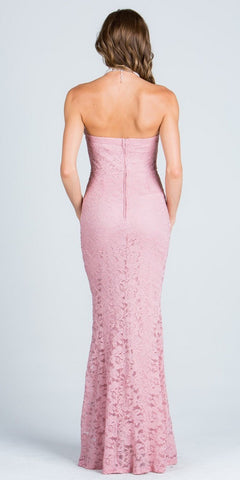 Blush Beaded Strapless Long Fitted Formal Lace Dress