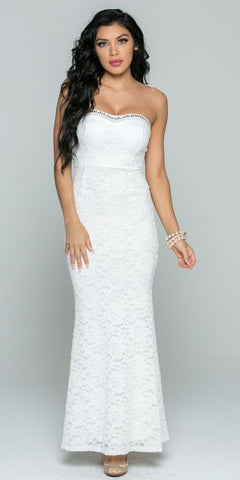 Off White Beaded Strapless Long Fitted Formal Lace Dress