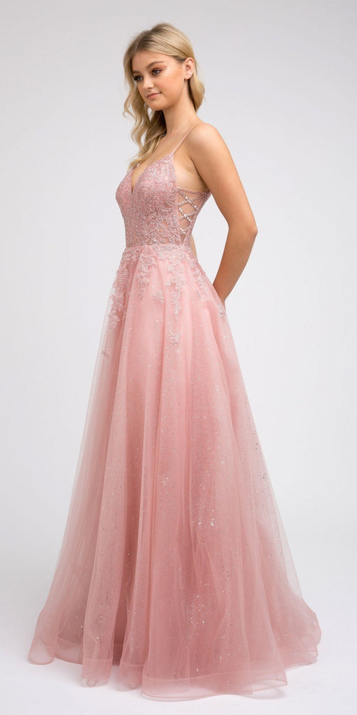 Blush Appliqued Prom Ball Gown with Spaghetti Straps
