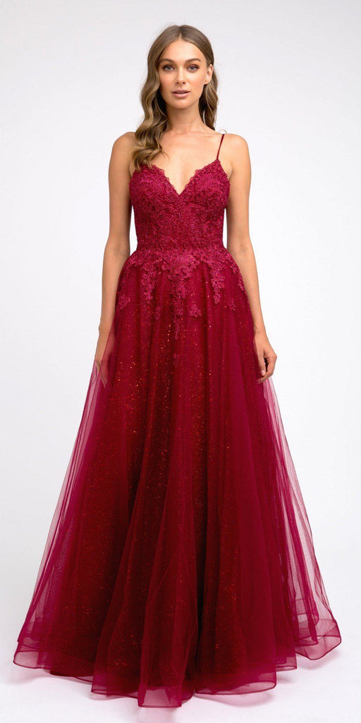 Burgundy Appliqued Prom Ball Gown with Spaghetti Straps