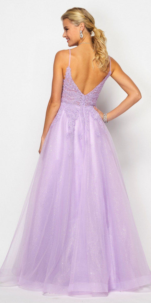 Lilac Appliqued Prom Ball Gown with Spaghetti Straps