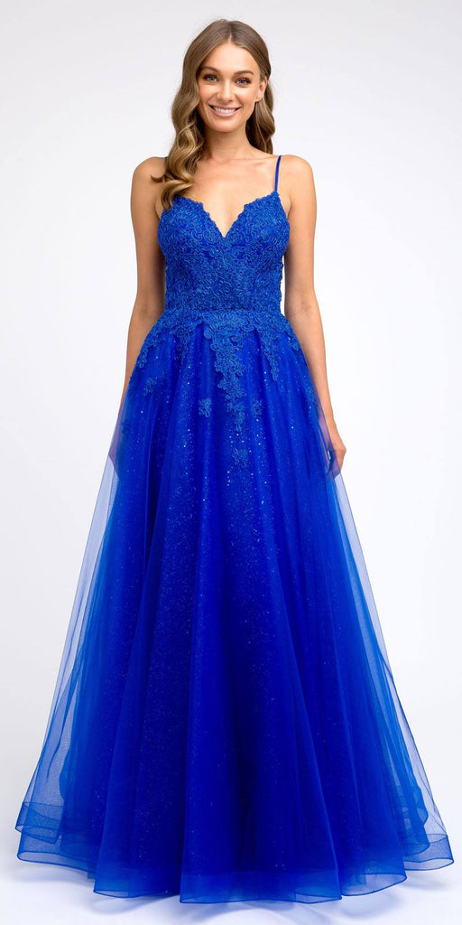Royal Blue Appliqued Prom Ball Gown with Spaghetti Straps