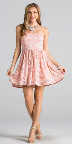 Blush Lace Floral A-line Short Cocktail Dress Strapless