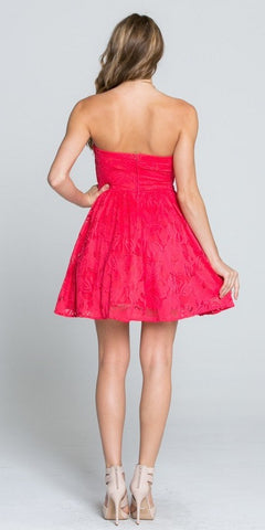 Coral Lace Floral A-line Short Cocktail Dress Strapless