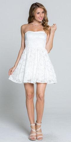 Off White Lace Floral A-line Short Cocktail Dress Strapless
