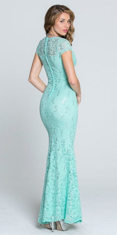 Short Sleeves V-Neck Fit and Flare Evening Gown Mint