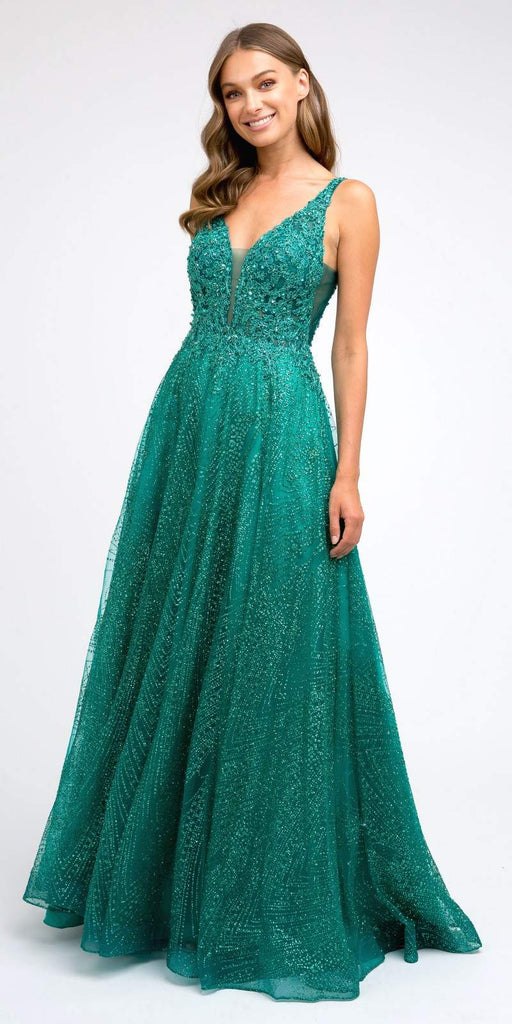 Green Embroidered Long Prom Dress with V-Neck