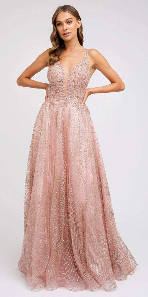 Rose Gold Embroidered Long Prom Dress with V-Neck