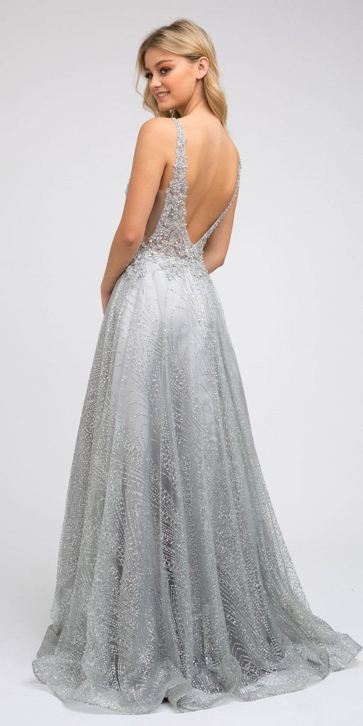 Silver Embroidered Long Prom Dress with V-Neck