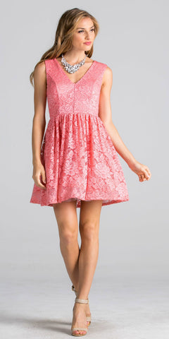 Coral Lace Short Cocktail Dress V-Neck Sleeveless