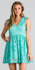 Mint Lace Short Cocktail Dress V-Neck Sleeveless