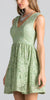 Sage Green Lace Short Cocktail Dress V-Neck Sleeveless