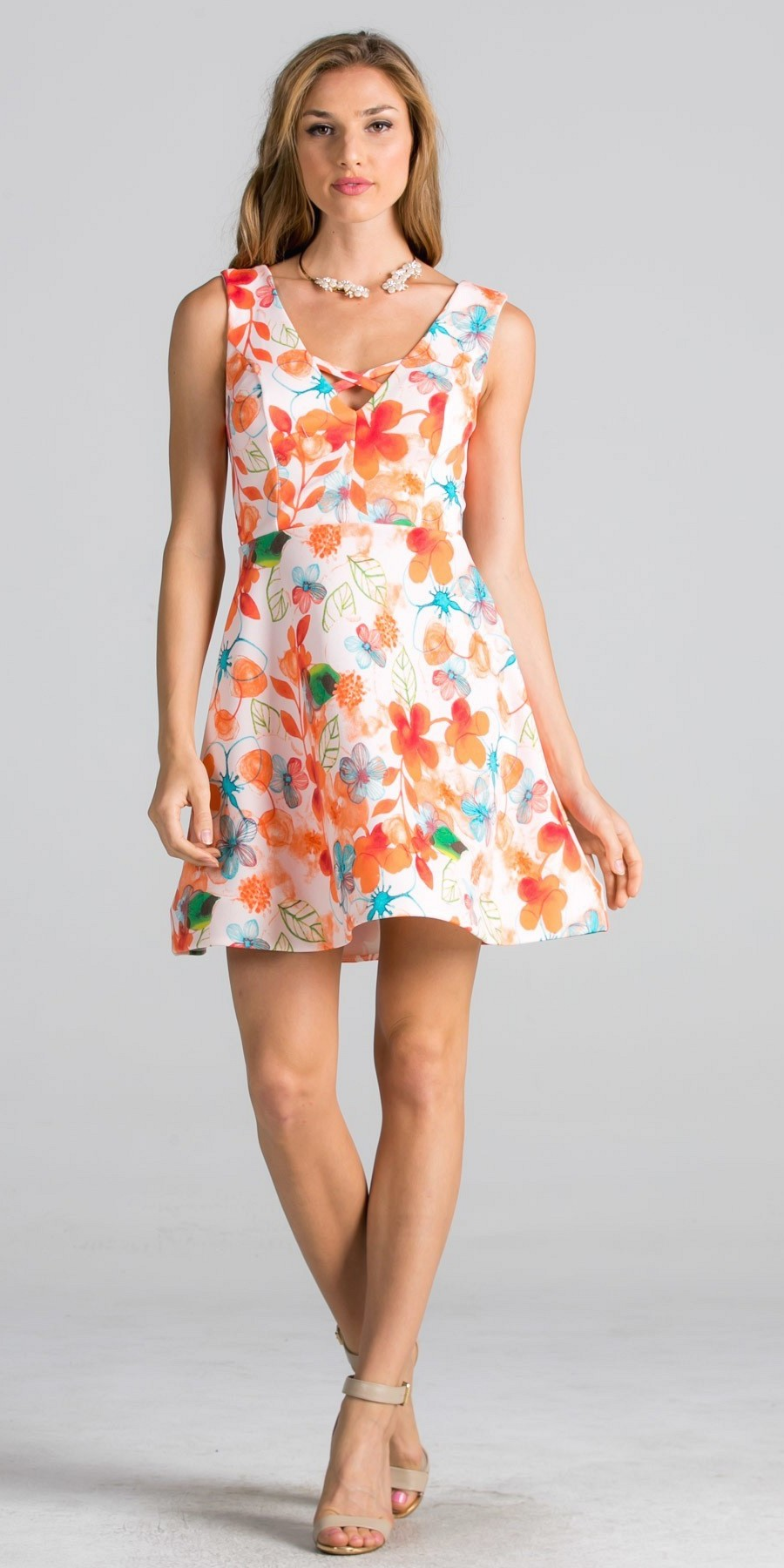 Coral Sleeveless Short Cocktail Dress with Floral Print