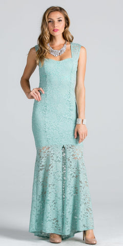 Mint Sleeveless Fitted Mermaid Long Formal Dress with Slit