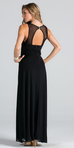 Empire Waist V-Neck Long Semi Formal Dress Cut Out Back Black