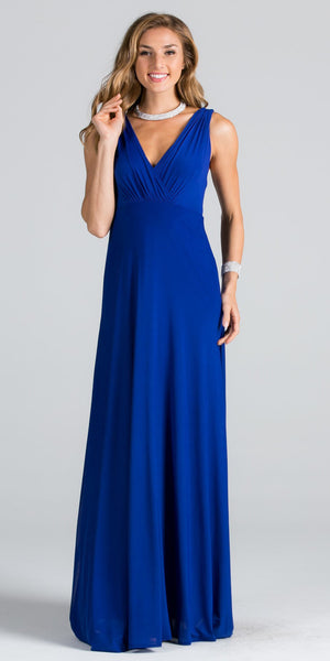 Empire Waist V-Neck Long Semi Formal Dress Cut Out Back Royal Blue