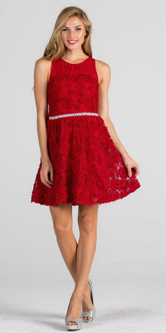 Red Sleeveless Beaded Waist Homecoming Short Dress Keyhole Back