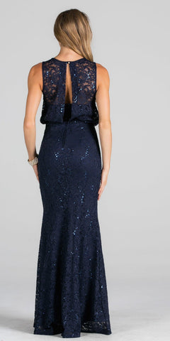 Navy Blue Blouson Fit and Flare Evening Gown with Slit