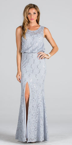 Silver Blouson Fit and Flare Evening Gown with Slit