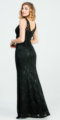 Embellished Waist Black Long Mermaid Style Formal Dress