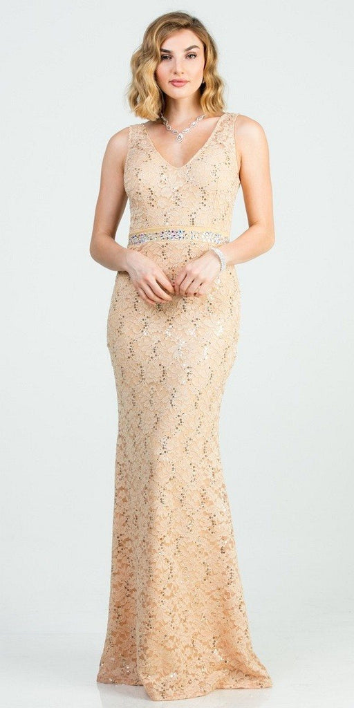 Embellished Waist Gold Long Mermaid Style Formal Dress