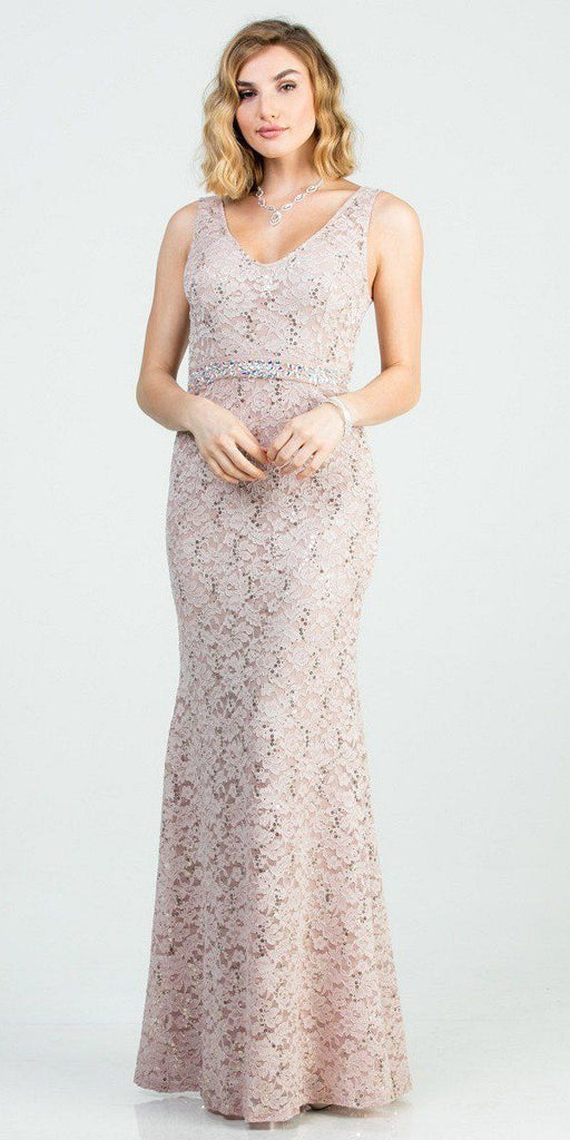 Embellished Waist Taupe Long Mermaid Style Formal Dress