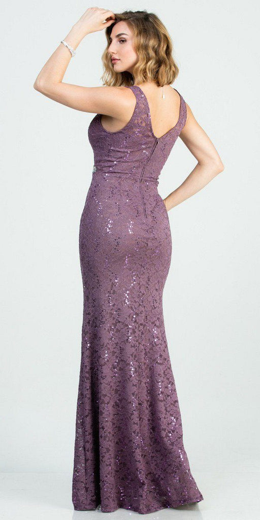 Embellished Waist Violet Long Mermaid Style Formal Dress