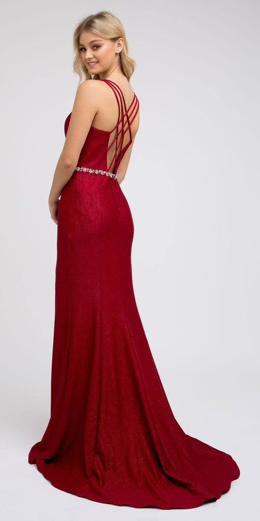 Strappy-Back Long Prom Dress with Slit Burgundy
