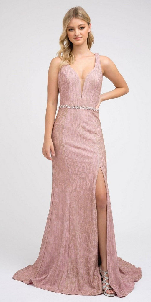 Strappy-Back Long Prom Dress with Slit Rose Gold