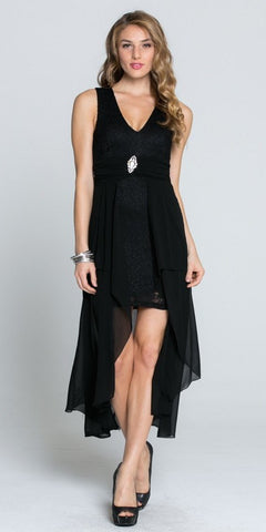 Sleeveless High Low Cocktail Dress V-Neckline with Brooch Black