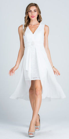 Sleeveless High Low Cocktail Dress V-Neckline with Brooch Off White