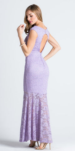 Cap Sleeves Mermaid Evening Gown Cut Out Back with Slit Lilac