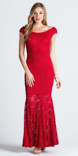 Cap Sleeves Mermaid Evening Gown Cut Out Back with Slit Red