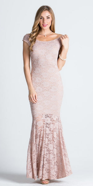 Cap Sleeves Mermaid Evening Gown Cut Out Back with Slit Taupe