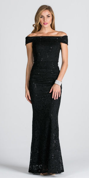 Black Off Shoulder Fit and Flare Evening Gown Cap Sleeves